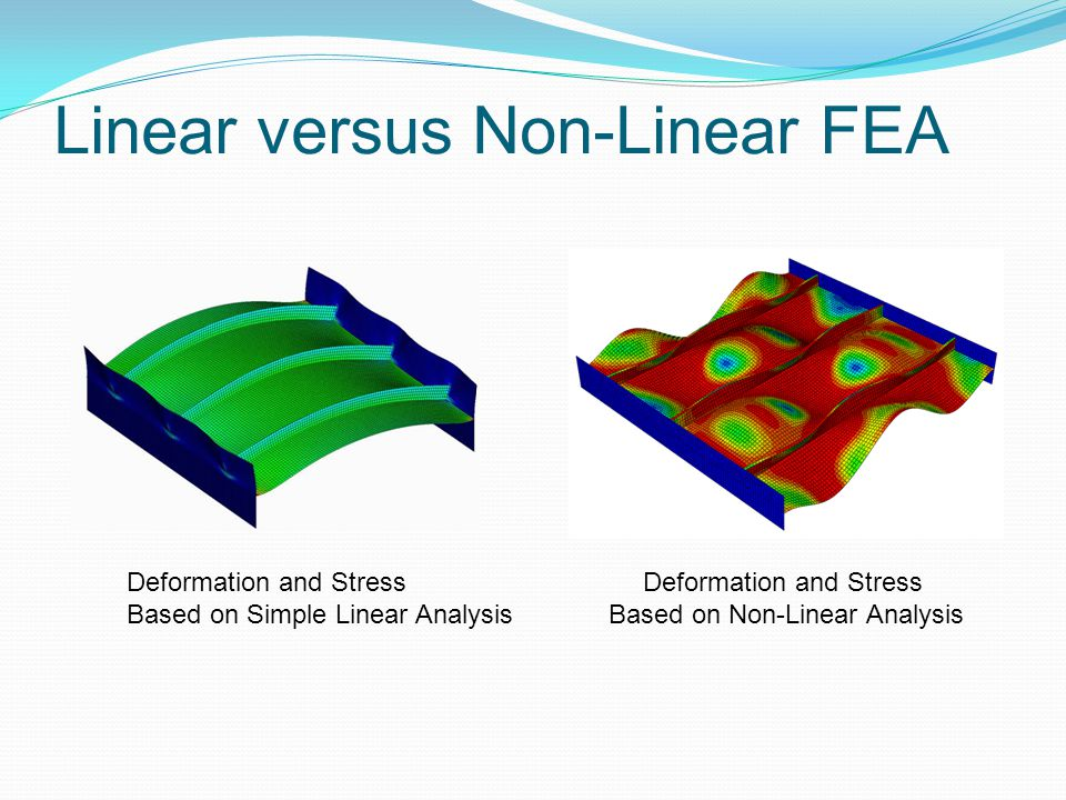 Linear versus Non-Linear FEA Deformation and Stress Based on Simple Linear Analysis Deformation and Stress Based on Non-Linear Analysis