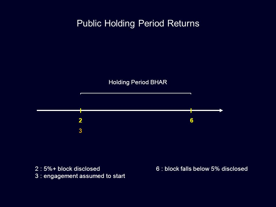 2 3 6 Public Holding Period Returns Holding Period BHAR 2 : 5%+ block disclosed 3 : engagement assumed to start 6 : block falls below 5% disclosed