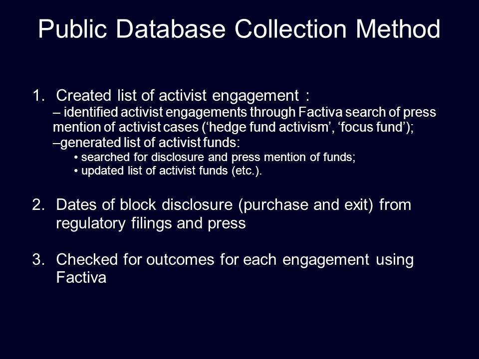Public Database Collection Method 1.Created list of activist engagement : – identified activist engagements through Factiva search of press mention of