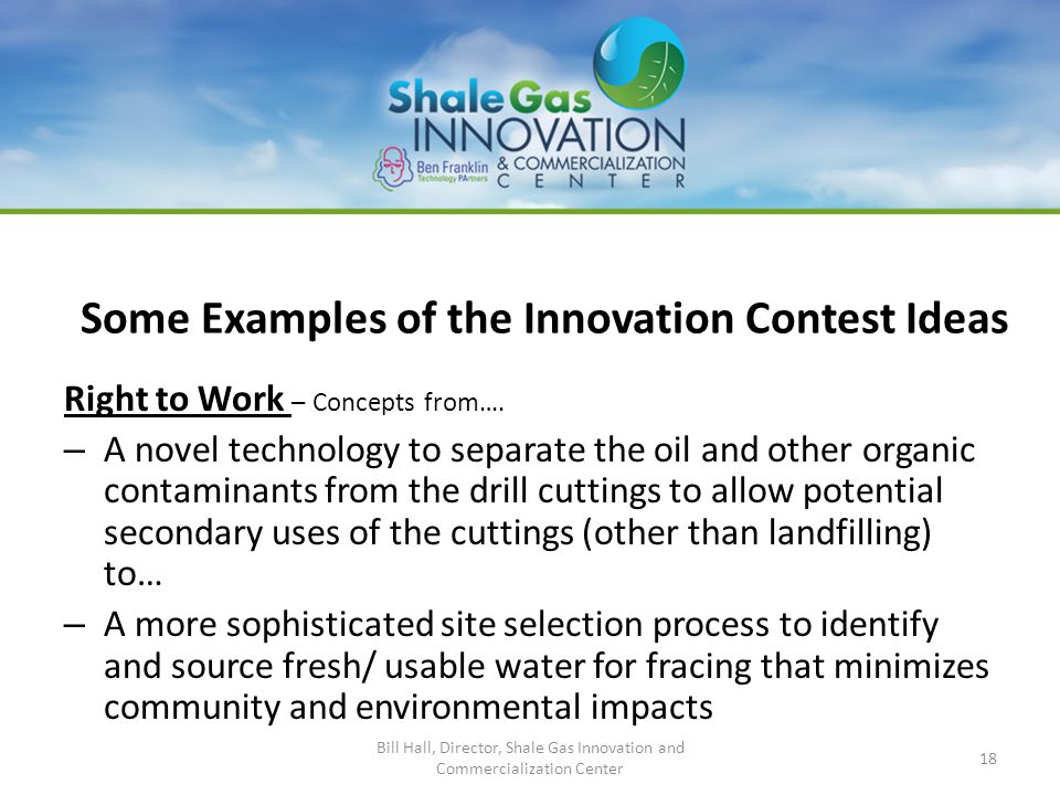 Some Examples of the Innovation Contest Ideas Right to Work – Concepts from….