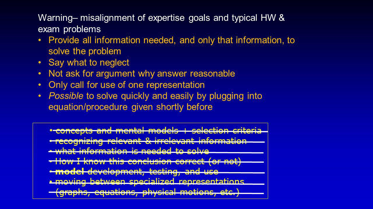 Warning– misalignment of expertise goals and typical HW & exam problems Provide all information needed, and only that information, to solve the problem Say what to neglect Not ask for argument why answer reasonable Only call for use of one representation Possible to solve quickly and easily by plugging into equation/procedure given shortly before concepts and mental models + selection criteria recognizing relevant & irrelevant information what information is needed to solve How I know this conclusion correct (or not) model development, testing, and use moving between specialized representations (graphs, equations, physical motions, etc.)