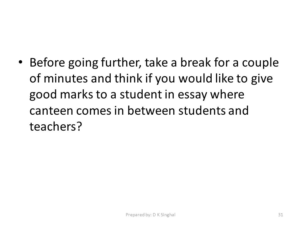 Before going further, take a break for a couple of minutes and think if you would like to give good marks to a student in essay where canteen comes in between students and teachers.