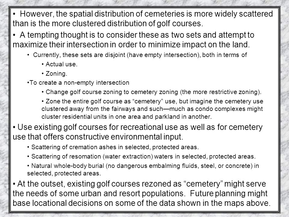 Mixed Use Visualization: Cemetery use on Golf Course
