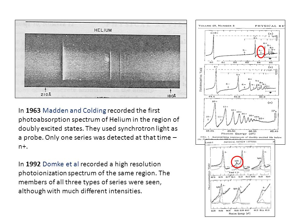 In 1963 Madden and Colding recorded the first photoabsorption spectrum of Helium in the region of doubly excited states. They used synchrotron light a