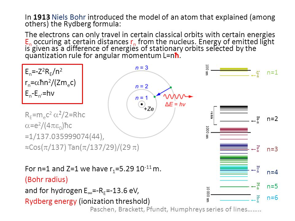 In 1913 Niels Bohr introduced the model of an atom that explained (among others) the Rydberg formula: The electrons can only travel in certain classical orbits with certain energies E n occuring at certain distances r n from the nucleus.