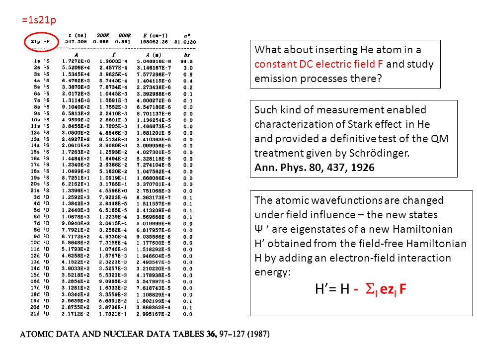 =1s21p What about inserting He atom in a constant DC electric field F and study emission processes there.