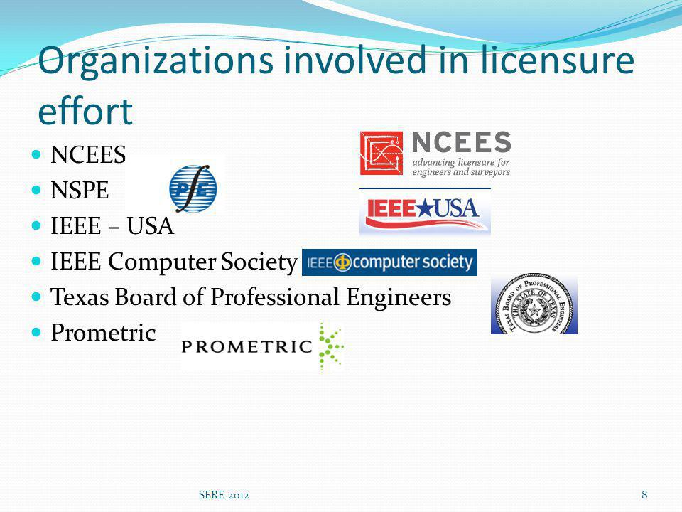 Organizations involved in licensure effort NCEES NSPE IEEE – USA IEEE Computer Society Texas Board of Professional Engineers Prometric 8SERE 2012