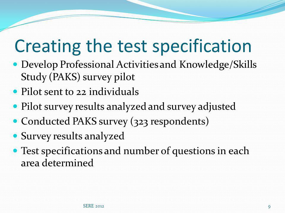 Test specification: knowledge areas SERE 201210 % of exam # of items 1.