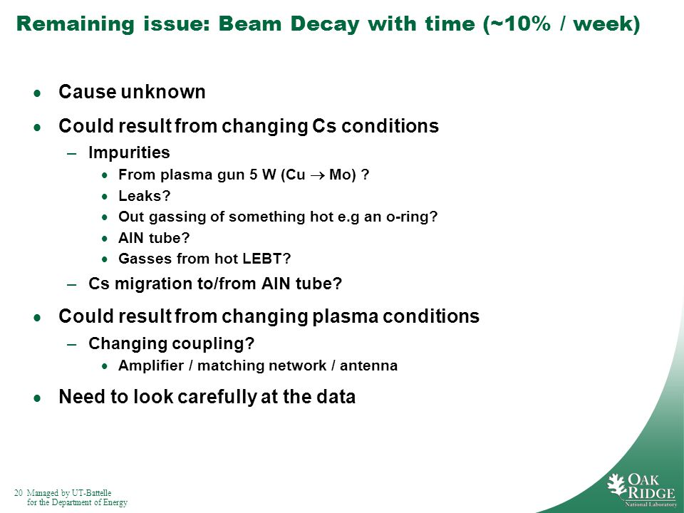 20Managed by UT-Battelle for the Department of Energy Remaining issue: Beam Decay with time (~10% / week) Cause unknown Could result from changing Cs conditions –Impurities From plasma gun 5 W (Cu Mo) .