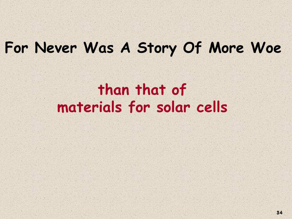 than that of materials for solar cells For Never Was A Story Of More Woe 34