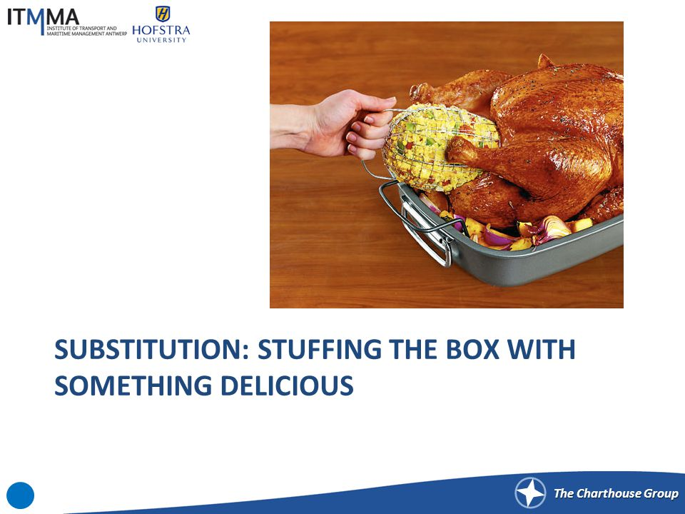 The Charthouse Group SUBSTITUTION: STUFFING THE BOX WITH SOMETHING DELICIOUS