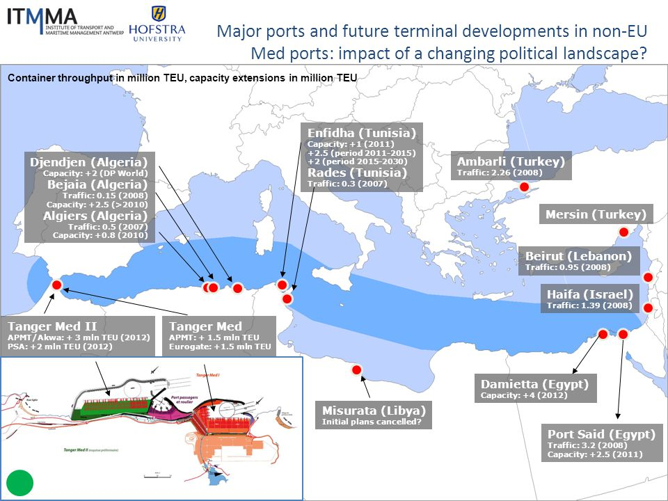 The Charthouse Group Major ports and future terminal developments in non-EU Med ports: impact of a changing political landscape? Container throughput