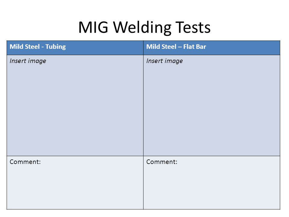 MIG Welding Tests Mild Steel - TubingMild Steel – Flat Bar Insert image Comment:
