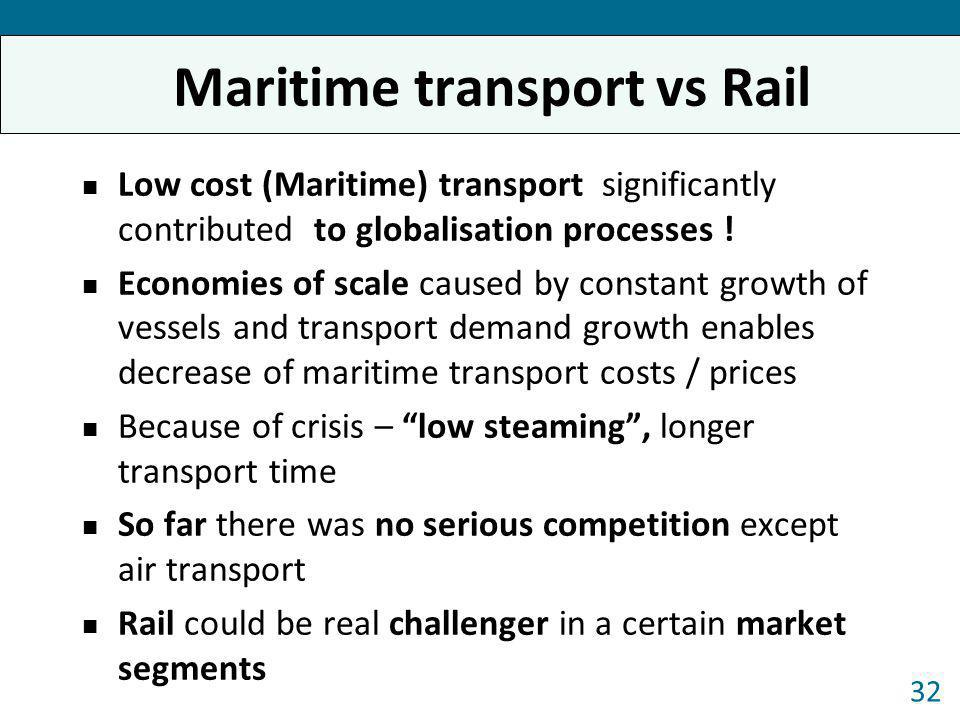 Maritime transport vs Rail Low cost (Maritime) transport significantly contributed to globalisation processes ! Economies of scale caused by constant