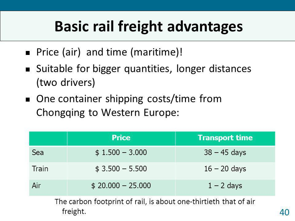 Price (air) and time (maritime)! Suitable for bigger quantities, longer distances (two drivers) One container shipping costs/time from Chongqing to We