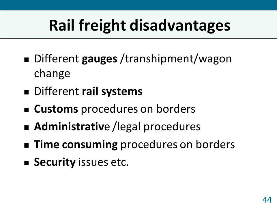 Rail freight disadvantages Different gauges /transhipment/wagon change Different rail systems Customs procedures on borders Administrative /legal proc