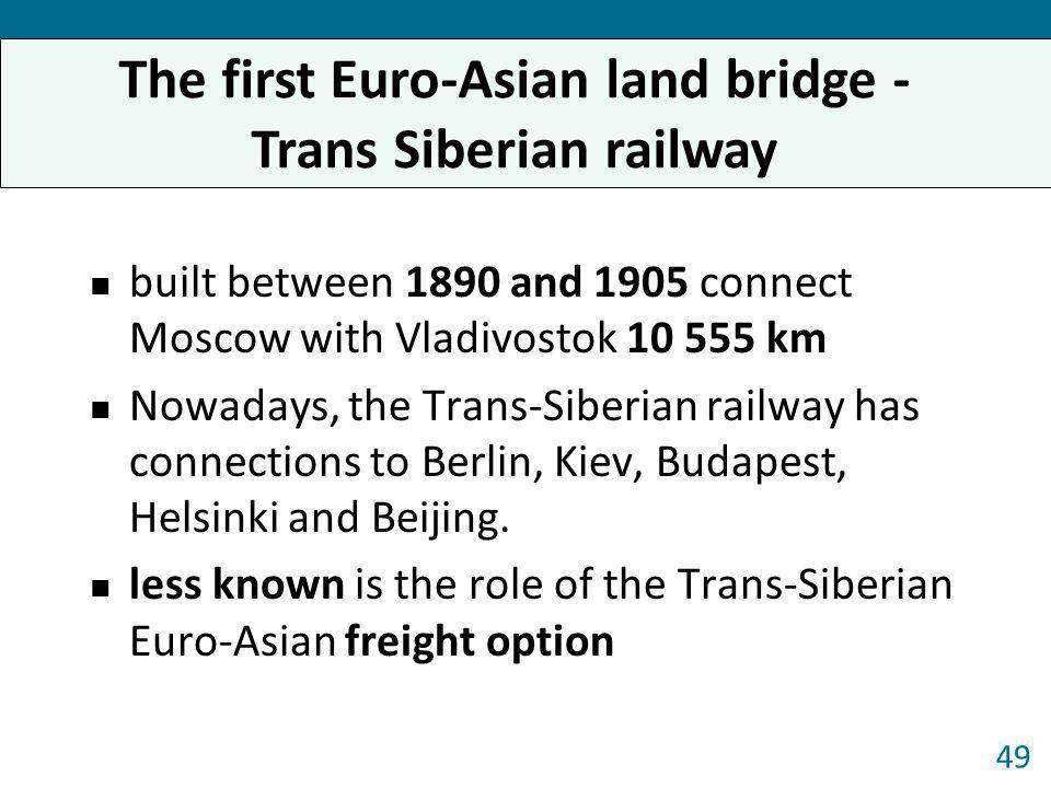 built between 1890 and 1905 connect Moscow with Vladivostok 10 555 km Nowadays, the Trans-Siberian railway has connections to Berlin, Kiev, Budapest,