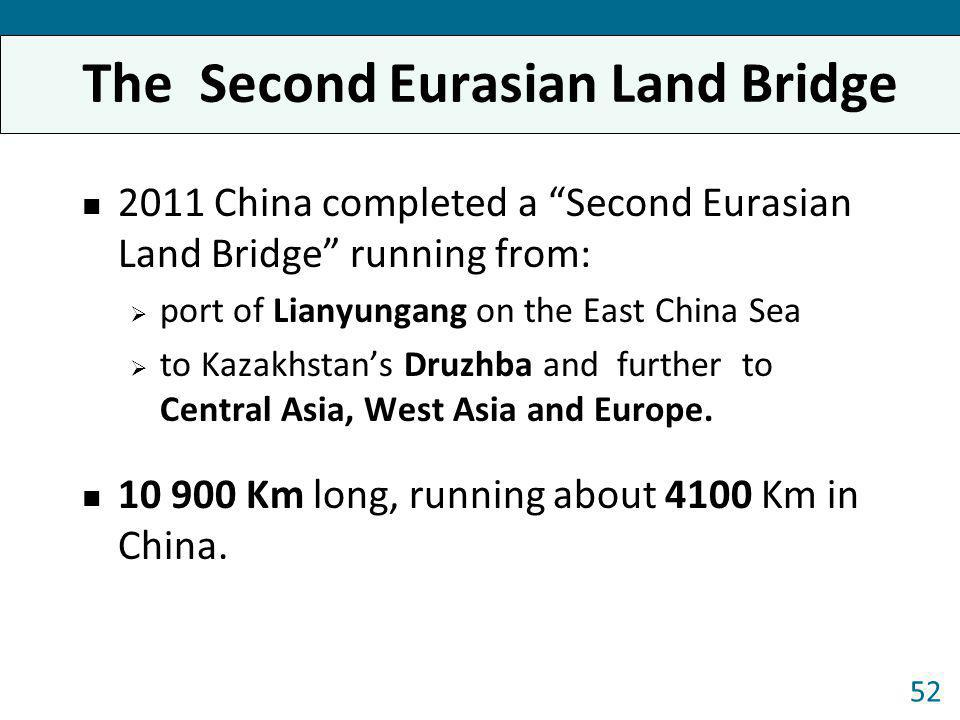 The Second Eurasian Land Bridge 2011 China completed a Second Eurasian Land Bridge running from: port of Lianyungang on the East China Sea to Kazakhst