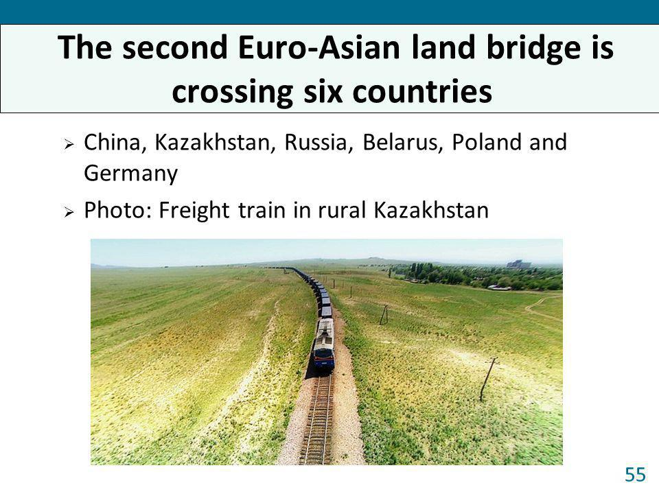 China, Kazakhstan, Russia, Belarus, Poland and Germany Photo: Freight train in rural Kazakhstan 55 The second Euro-Asian land bridge is crossing six c