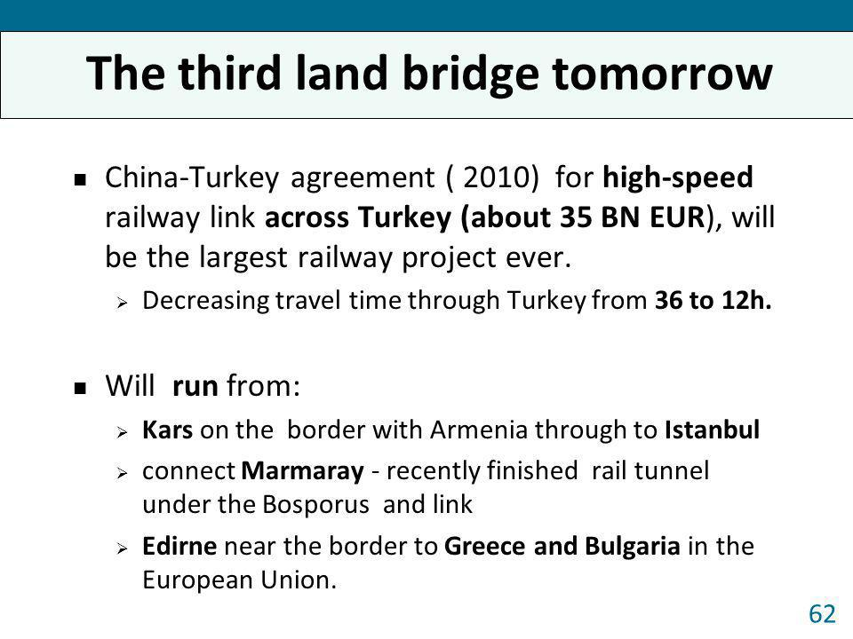The third land bridge tomorrow China-Turkey agreement ( 2010) for high-speed railway link across Turkey (about 35 BN EUR), will be the largest railway