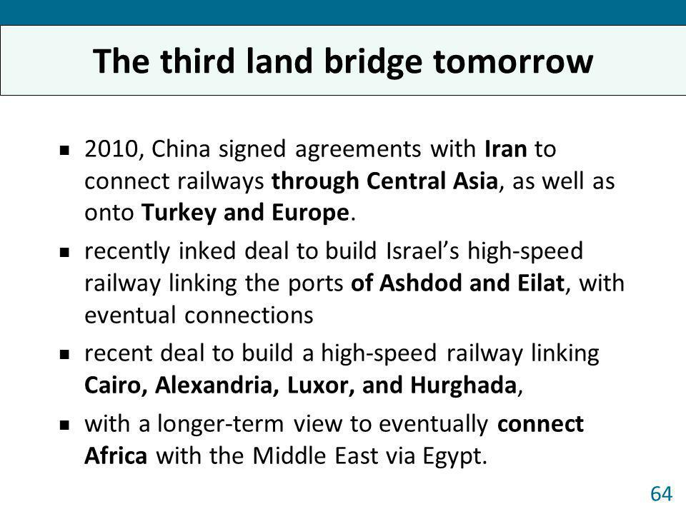 2010, China signed agreements with Iran to connect railways through Central Asia, as well as onto Turkey and Europe. recently inked deal to build Isra
