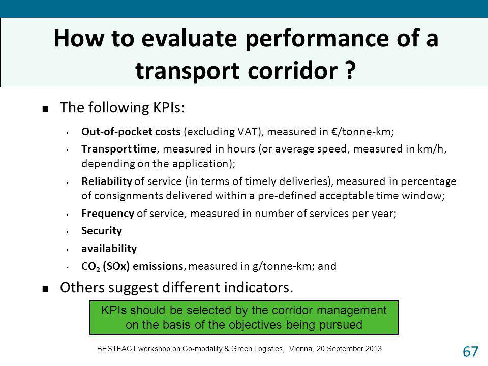 The following KPIs: Out-of-pocket costs (excluding VAT), measured in /tonne-km; Transport time, measured in hours (or average speed, measured in km/h,
