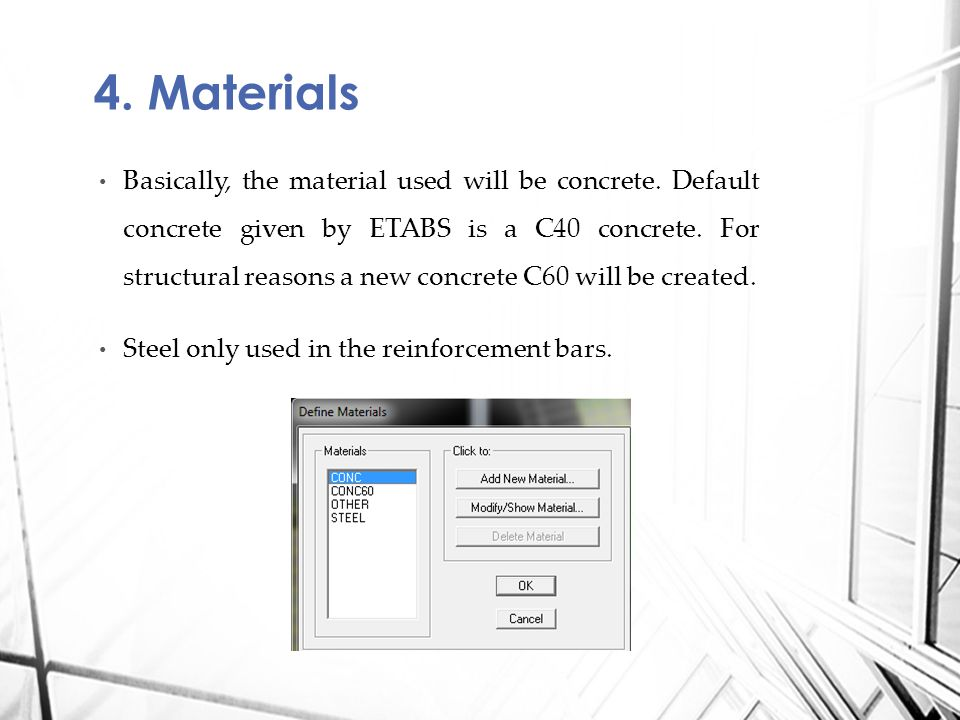 Basically, the material used will be concrete.Default concrete given by ETABS is a C40 concrete.