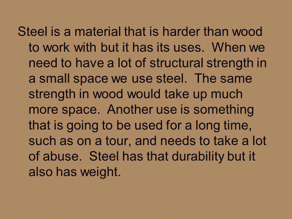 Shapes The more common shapes of steel building material are I T L C box tube, bar, rod/ dowel and pipe The shapes are sized depending on the actual size of the steel.