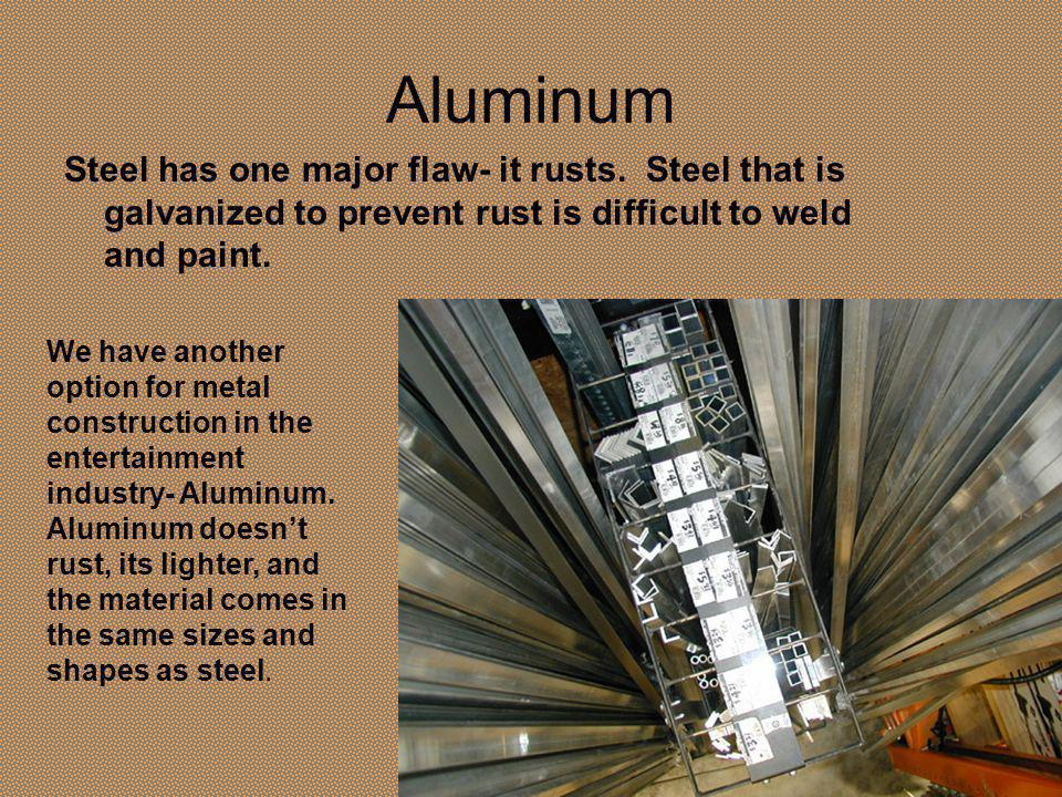 Aluminum Steel has one major flaw- it rusts.