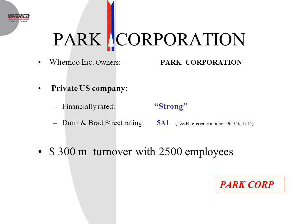 PARK CORPORATION Whemco Inc. Owners: PARK CORPORATION Private US company: –Financially rated: Strong –Dunn & Brad Street rating: 5A1 ( D&B reference n