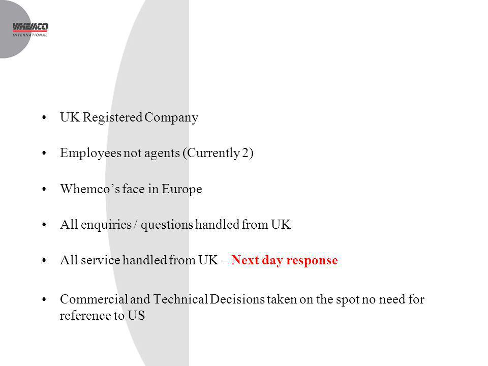 UK Registered Company Employees not agents (Currently 2) Whemcos face in Europe All enquiries / questions handled from UK All service handled from UK