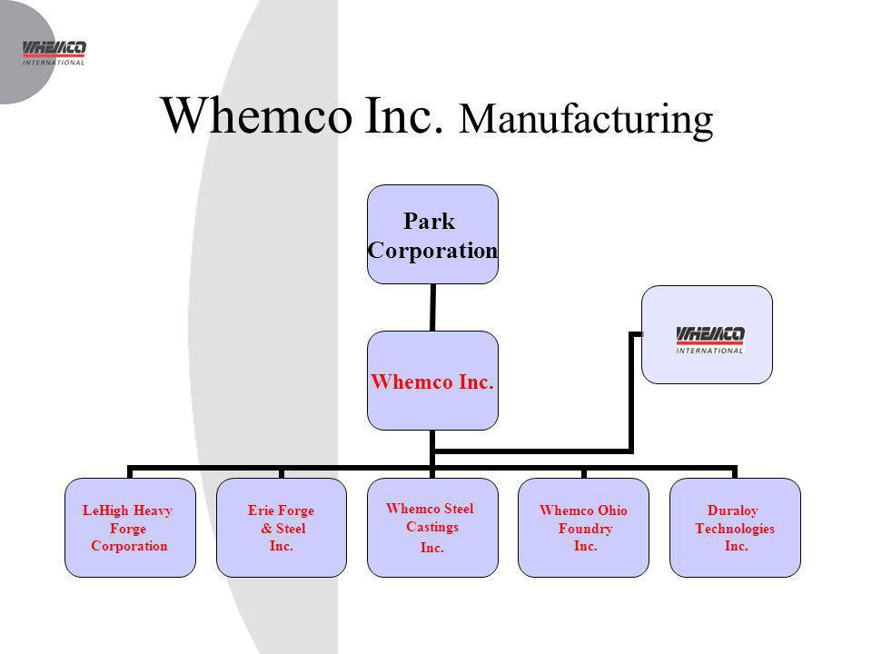 Whemco Inc. Manufacturing Park Corporation Whemco Inc. LeHigh Heavy Forge Corporation Erie Forge & Steel Inc. Whemco Steel Castings Inc. Whemco Ohio F
