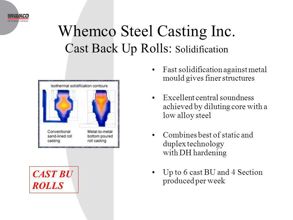 Whemco Steel Casting Inc. Cast Back Up Rolls: Solidification Fast solidification against metal mould gives finer structures Excellent central soundnes