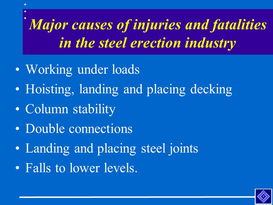 Major causes of injuries and fatalities in the steel erection industry Working under loads Hoisting, landing and placing decking Column stability Doub