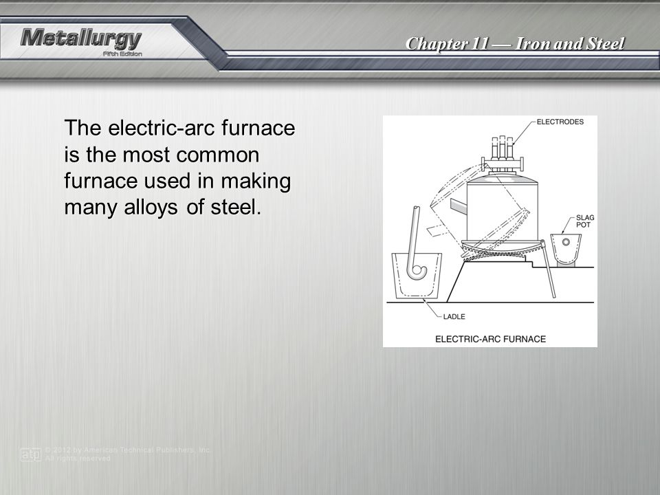 Chapter 11 Iron and Steel The electric-arc furnace is the most common furnace used in making many alloys of steel.