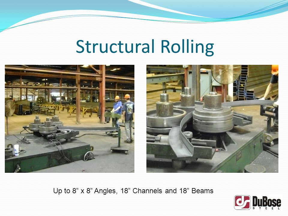 Structural Rolling Up to 8 x 8 Angles, 18 Channels and 18 Beams