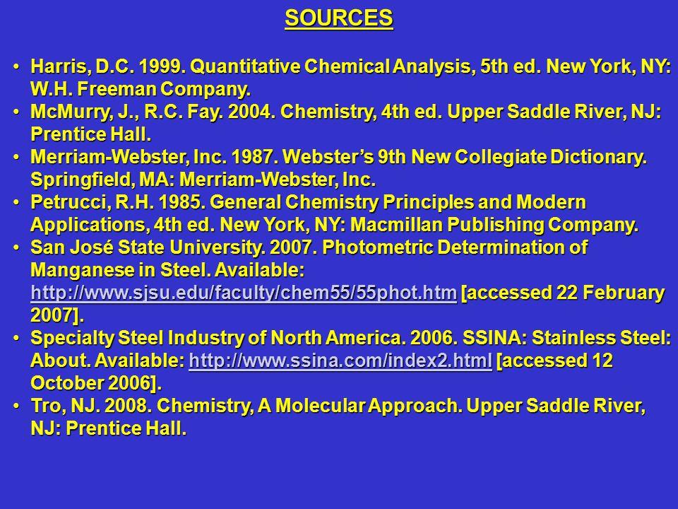 Harris, D.C. 1999. Quantitative Chemical Analysis, 5th ed. New York, NY: W.H. Freeman Company.Harris, D.C. 1999. Quantitative Chemical Analysis, 5th e