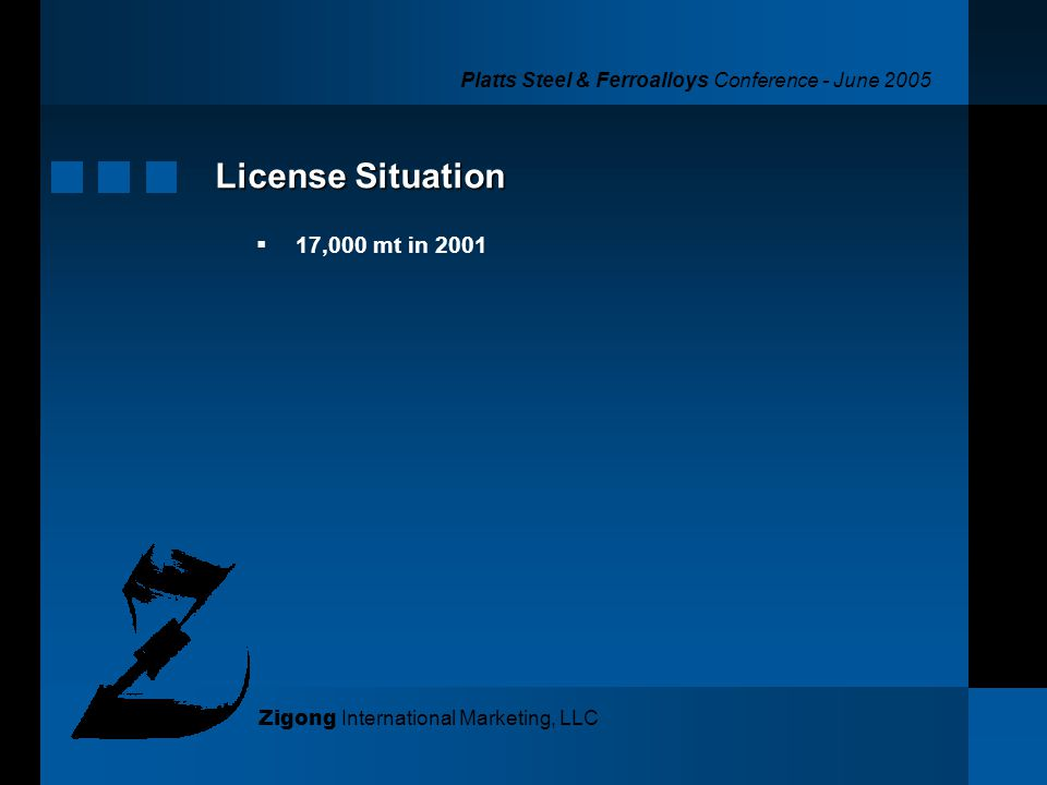 Platts Steel & Ferroalloys Conference - June 2005 Zigong International Marketing, LLC License Situation 17,000 mt in 2001