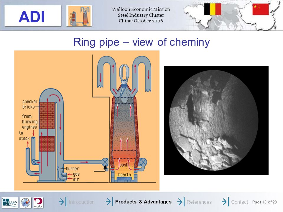 Walloon Economic Mission Steel Industry Cluster China: October 2006 Page 16 of 20 ADI Ring pipe – view of cheminy IntroductionProducts & AdvantagesReferencesContact