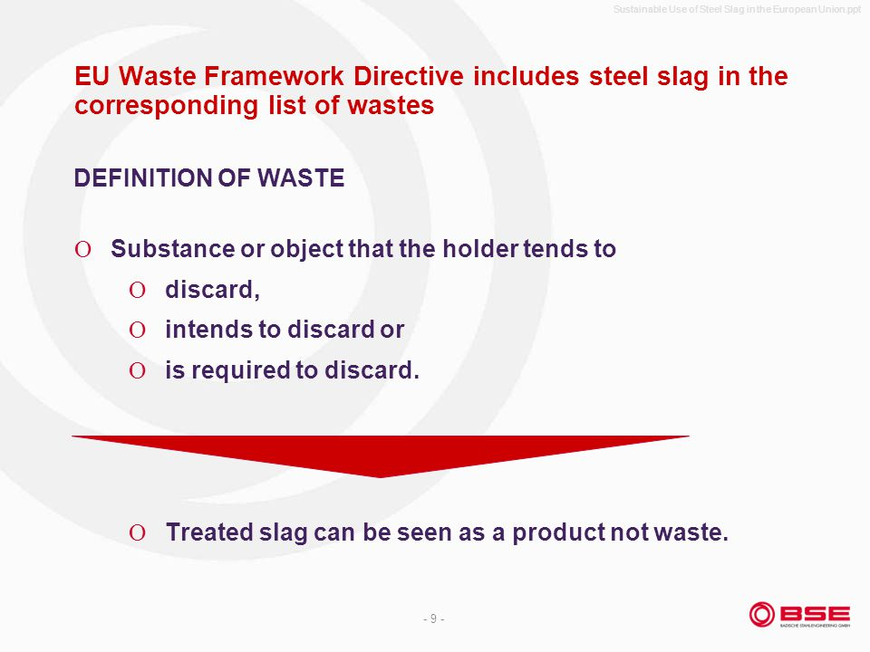 Sustainable Use of Steel Slag in the European Union.ppt - 9 - EU Waste Framework Directive includes steel slag in the corresponding list of wastes Sub
