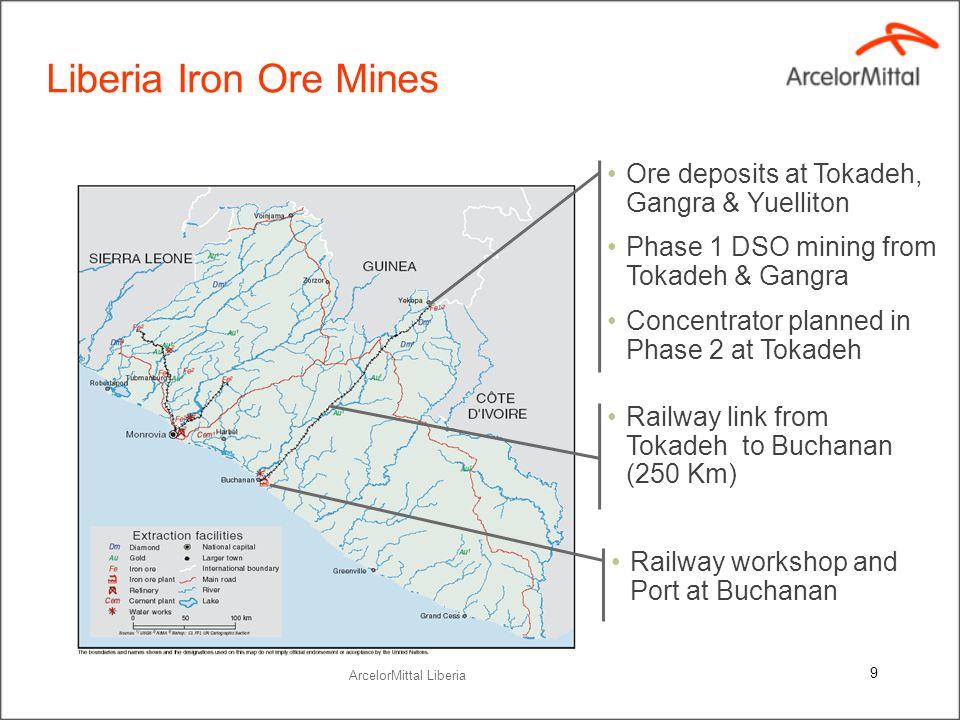 Liberia Iron Ore Mines Ore deposits at Tokadeh, Gangra & Yuelliton Phase 1 DSO mining from Tokadeh & Gangra Concentrator planned in Phase 2 at Tokadeh