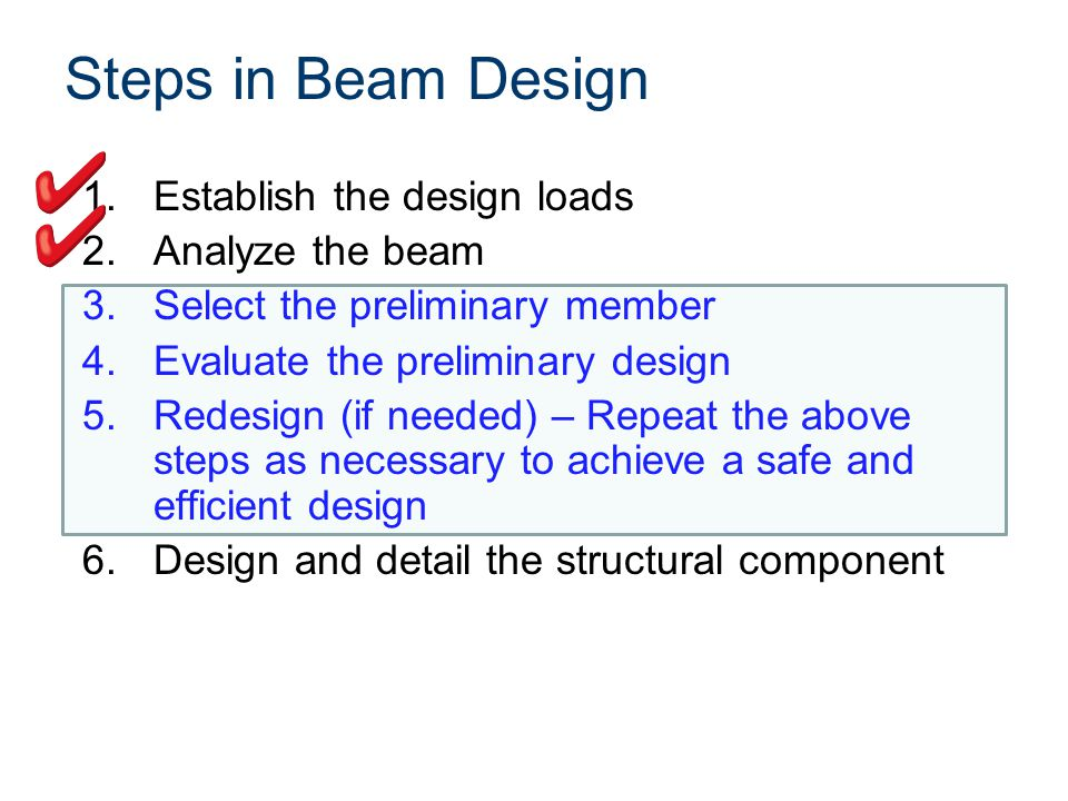 Steps in Beam Design 1.Establish the design loads 2.Analyze the beam 3.Select the preliminary member 4.Evaluate the preliminary design 5.Redesign (if needed) – Repeat the above steps as necessary to achieve a safe and efficient design 6.Design and detail the structural component