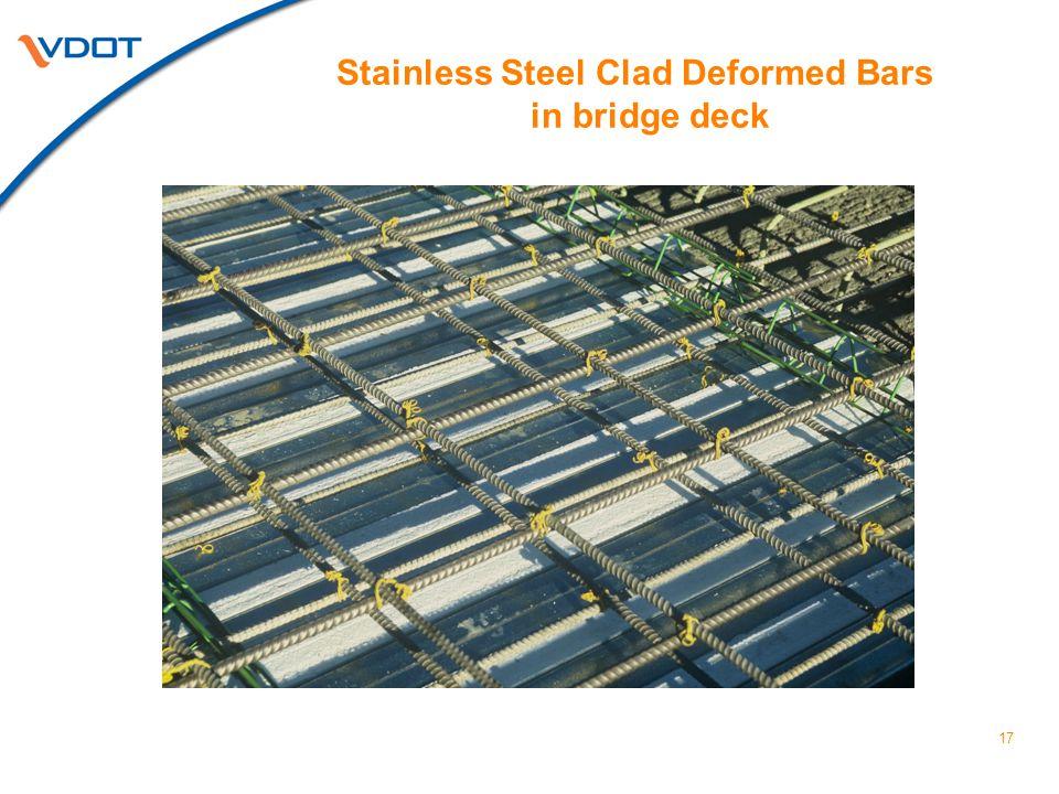 17 Stainless Steel Clad Deformed Bars in bridge deck
