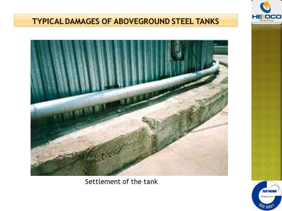 Settlement of the tank