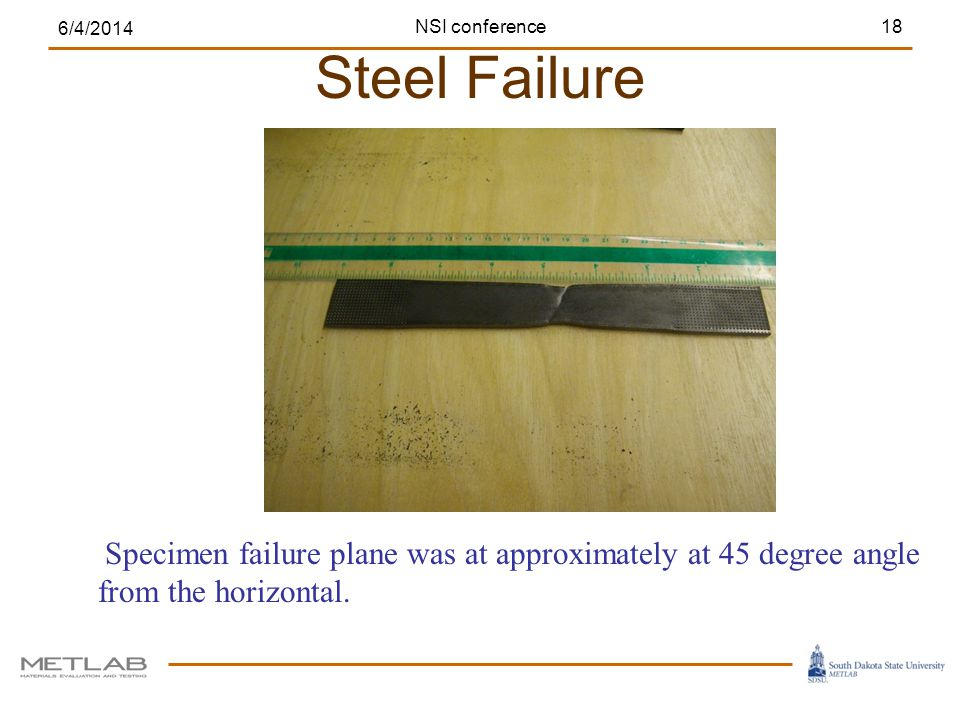 Steel Failure 6/4/2014 18 Specimen failure plane was at approximately at 45 degree angle from the horizontal. NSI conference