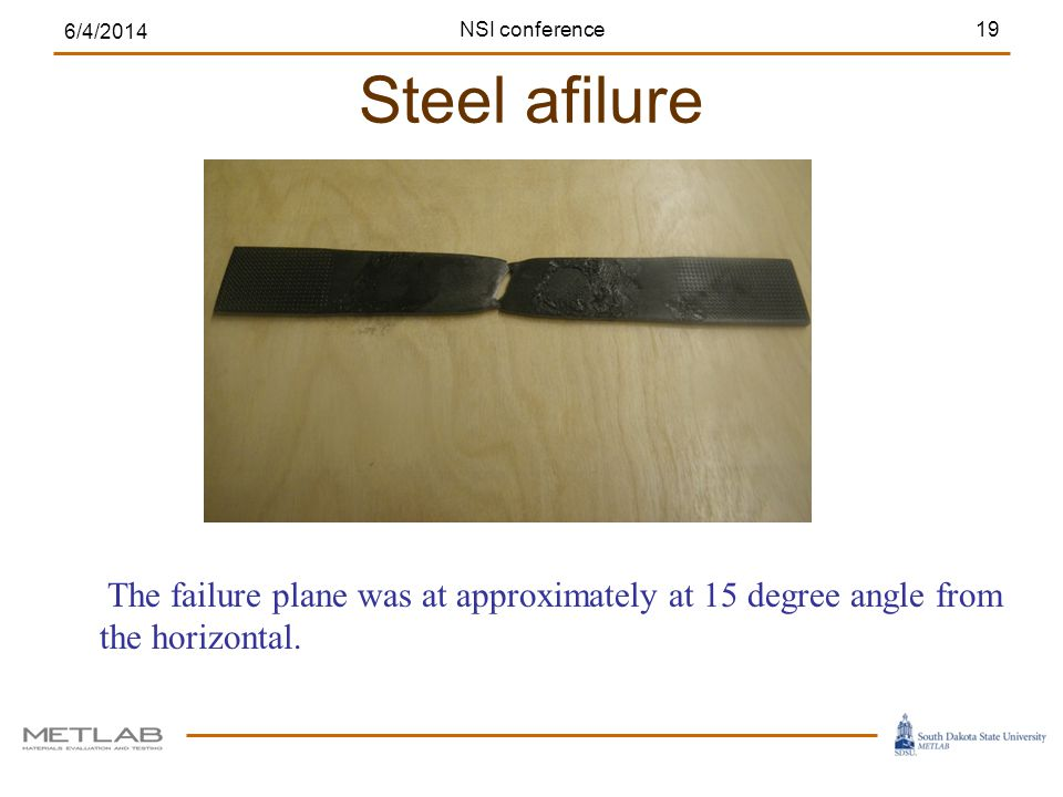 Steel afilure 6/4/2014 19NSI conference The failure plane was at approximately at 15 degree angle from the horizontal.