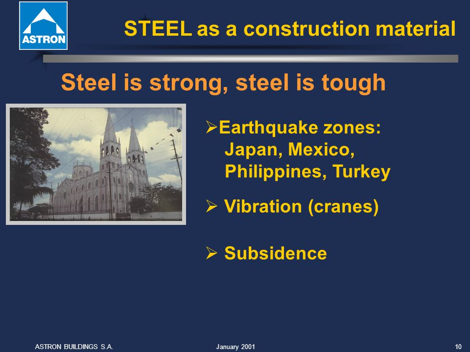 January 2001ASTRON BUILDINGS S.A.10 Steel is strong, steel is tough Vibration (cranes) Earthquake zones: Japan, Mexico, Philippines, Turkey Subsidence