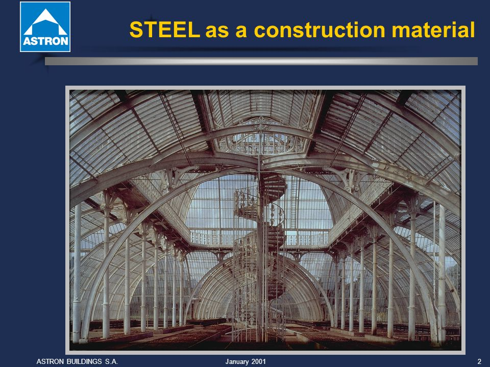 January 2001ASTRON BUILDINGS S.A.3 Steel can be cut, drilled, welded, bent, trimmed, roll-formed, stamped and die-formed...