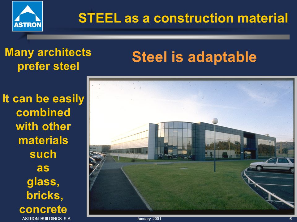 January 2001ASTRON BUILDINGS S.A.6 Many architects prefer steel It can be easily combined with other materials such as glass, bricks, concrete Steel is adaptable STEEL as a construction material