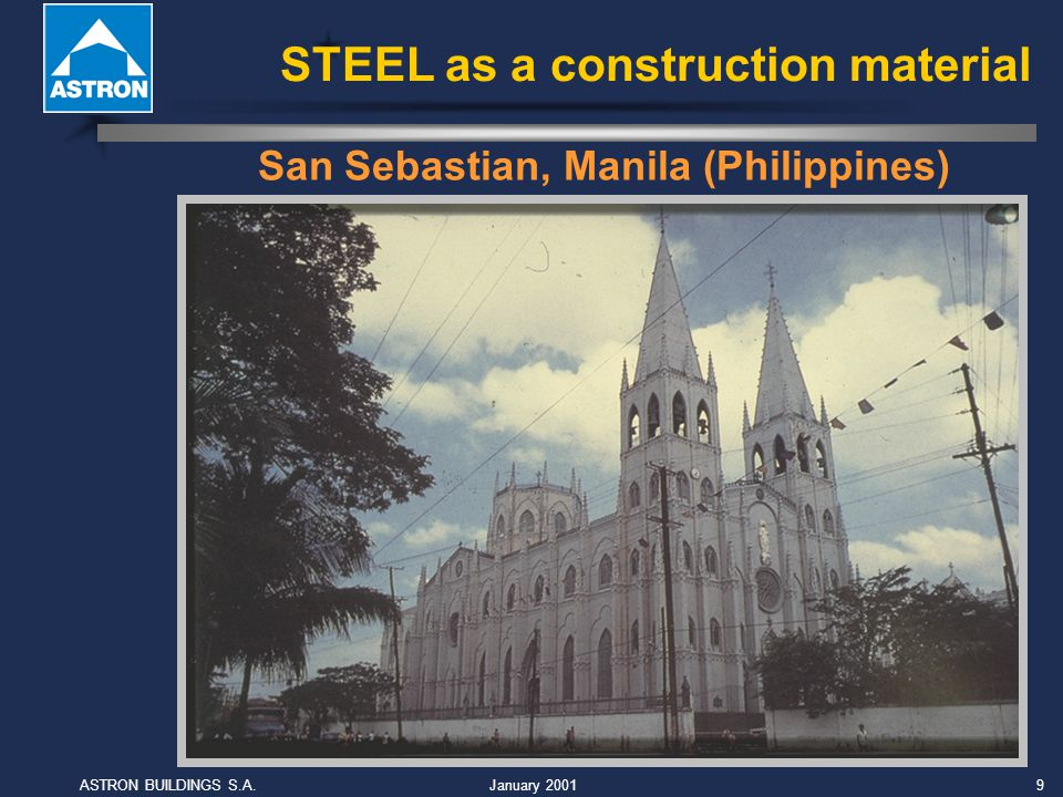 January 2001ASTRON BUILDINGS S.A.10 Steel is strong, steel is tough Vibration (cranes) Earthquake zones: Japan, Mexico, Philippines, Turkey Subsidence STEEL as a construction material